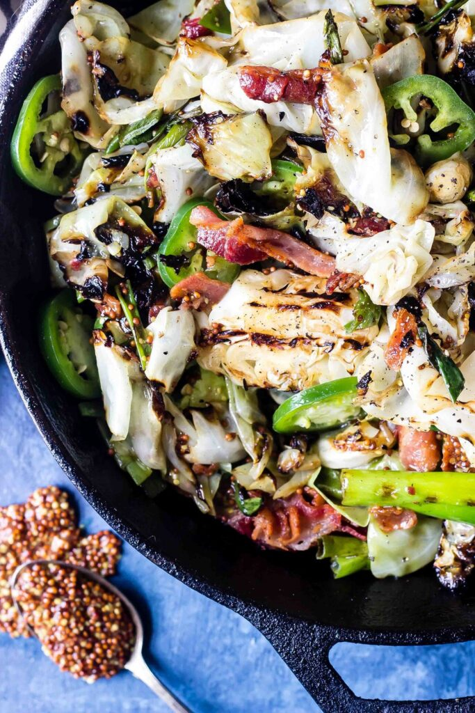 Charred Cabbage Salad in skillet