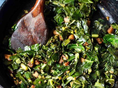 Spicy Pork Belly Collard Greens (low