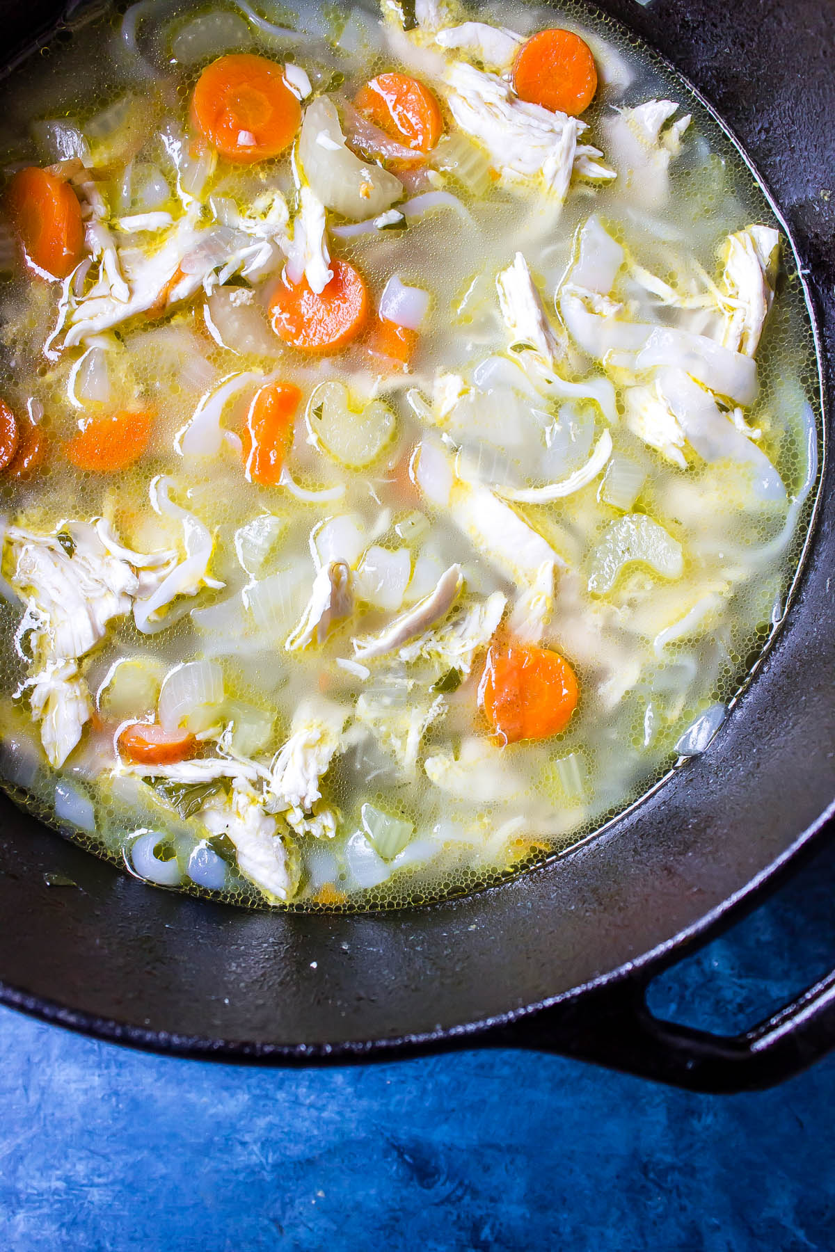 Chicken Noodle Soup in a cast-iron Dutch oven