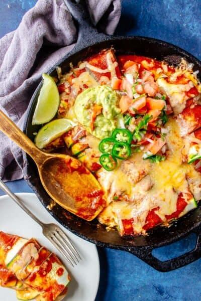 Keto Enchiladas in a cast iron skillet