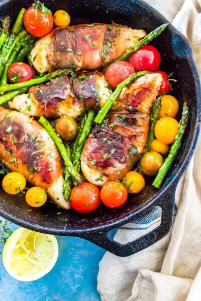 Chicken Saltimbocca in a cast iron skillet
