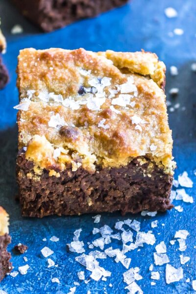 Keto Brookie Bars on table with salt scattered around