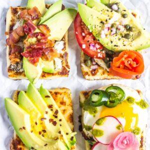 Keto Avocado Toast 4 ways