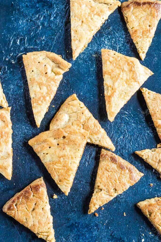 Keto Pita Chips on blue background