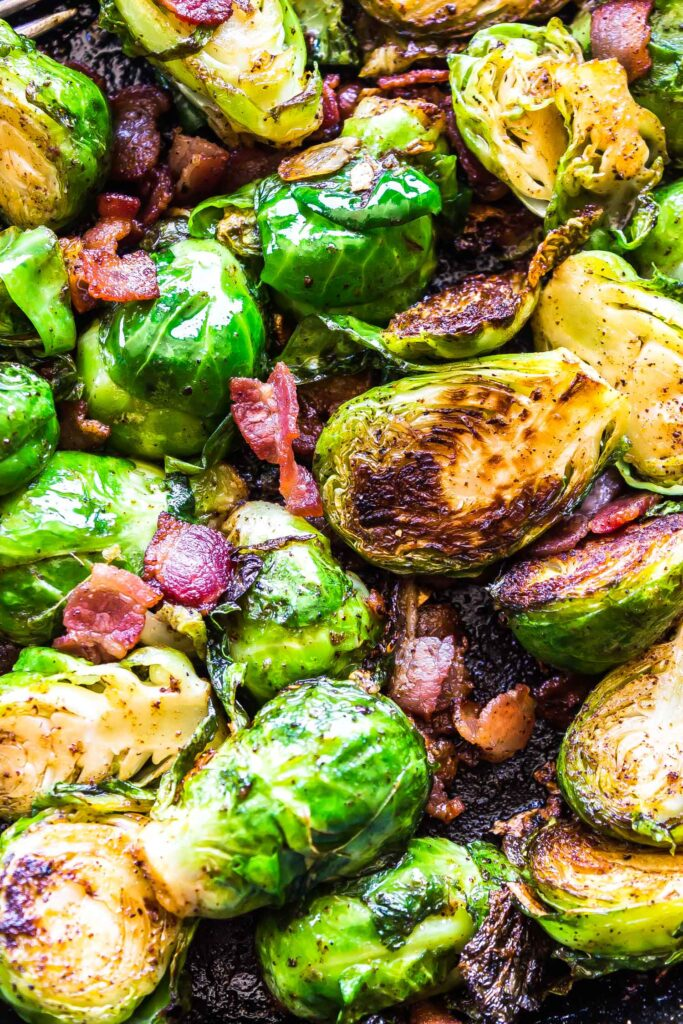 Keto Brussels Sprouts with Bacon in skillet