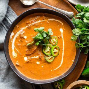 Keto Chicken Tikka Masala Soup in bowl