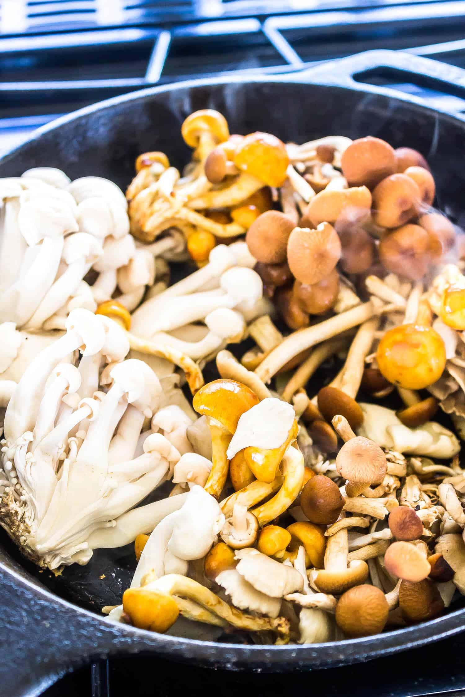 wild mushrooms in a cast iron skillet