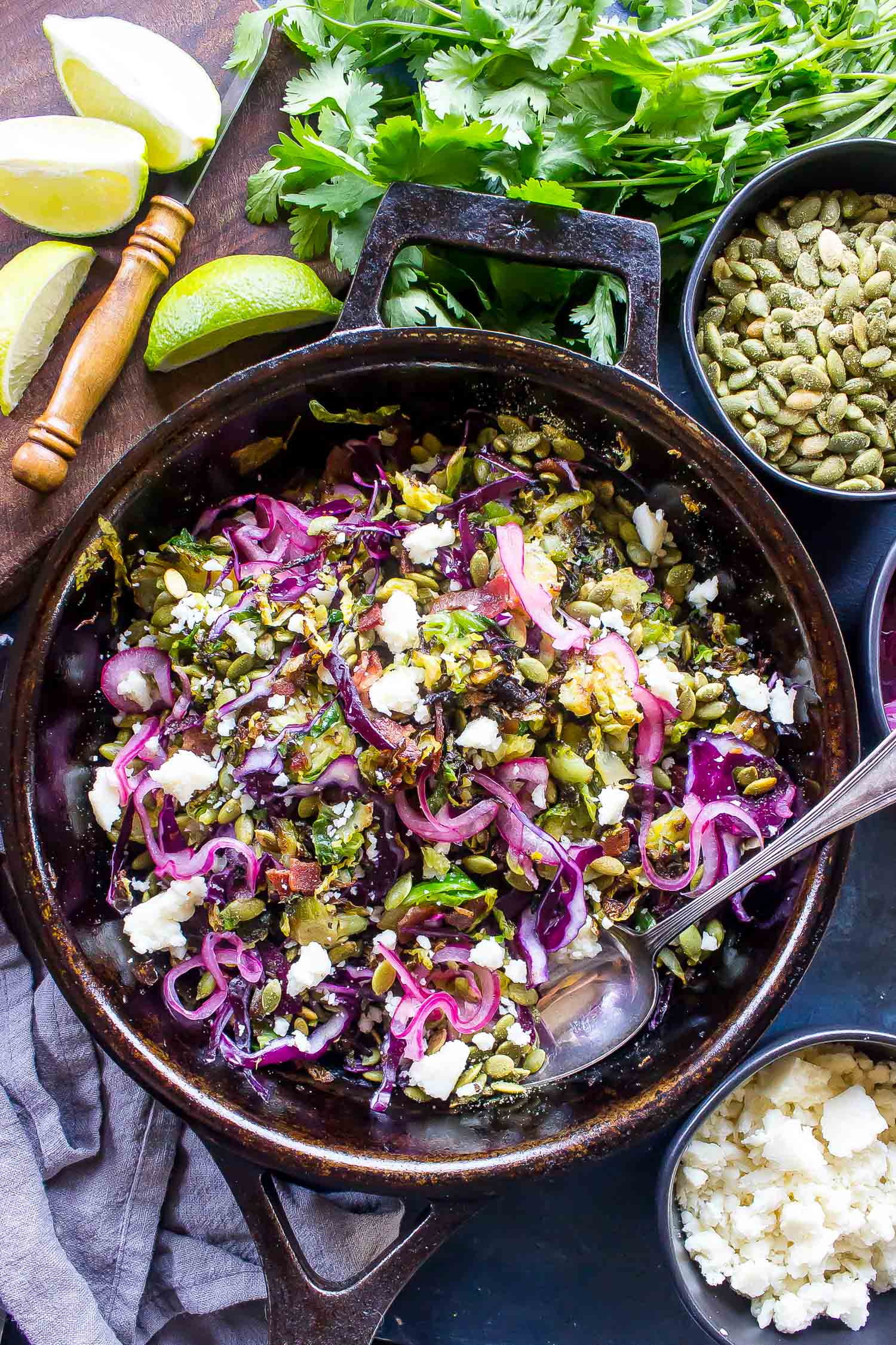 Keto Charred Brussels Sprout Salad in a cast iron skillet