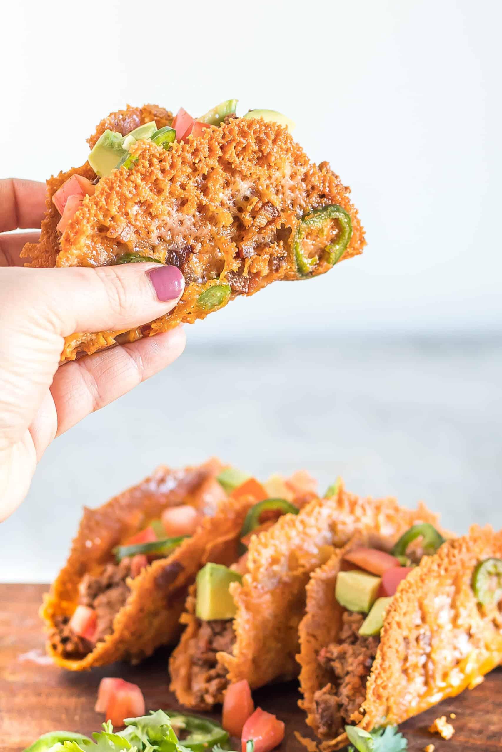 Keto taco meat in a cheesy keto taco shell.