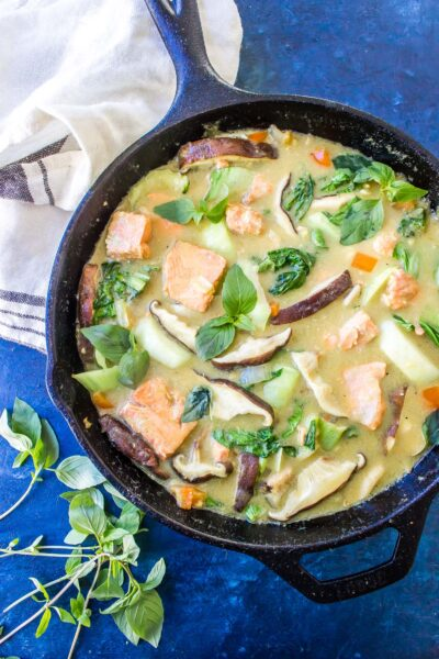 Keto Curry Skillet with Salmon