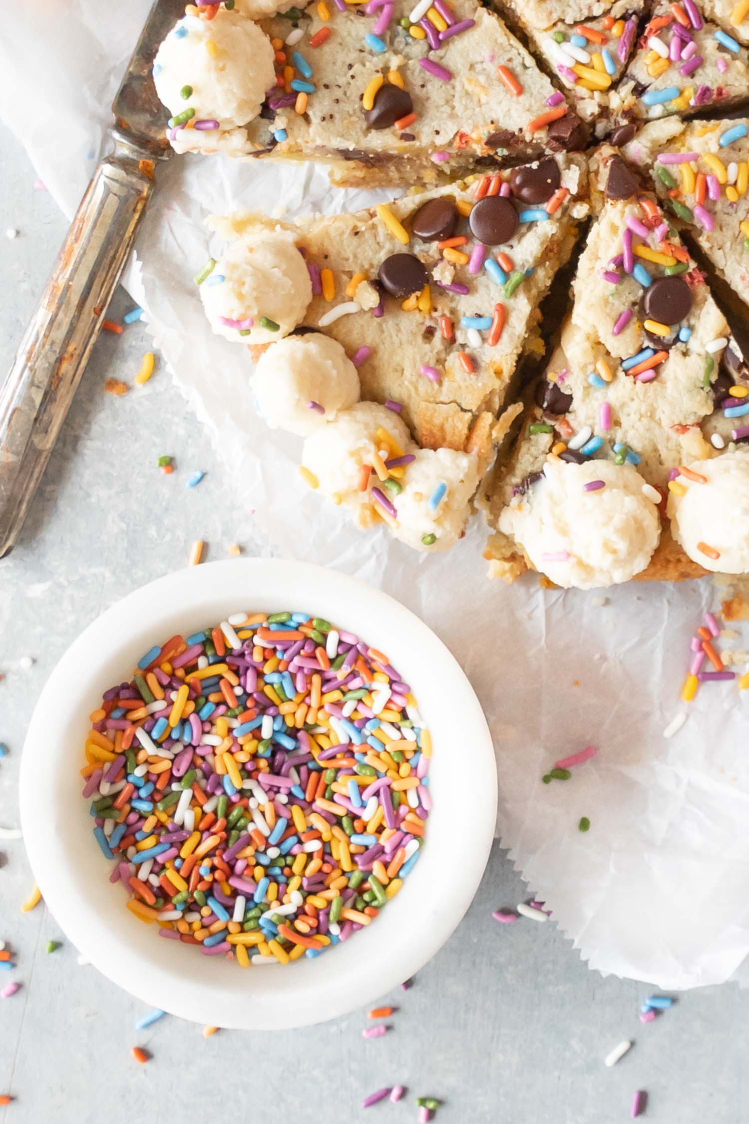 Keto Confetti Skillet Cookie on parchment paper