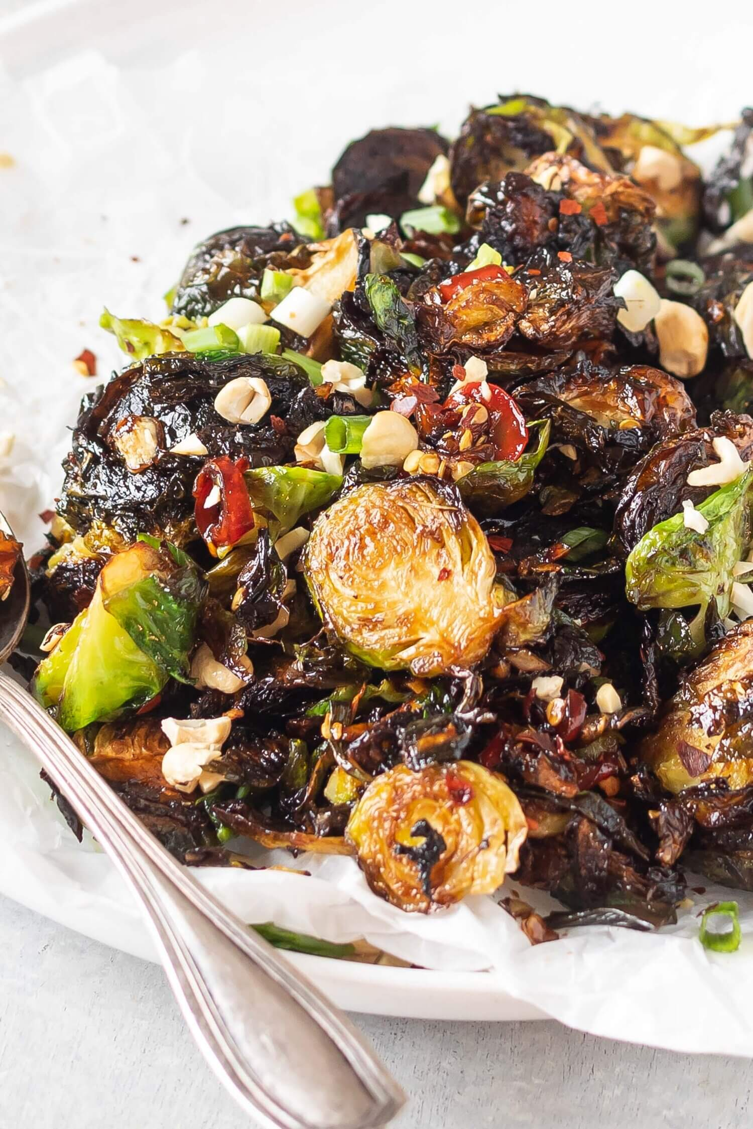 Keto Kung Pao Brussels Sprouts on plate