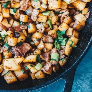 "Keto Breakfast ""Potatoes"" in skillet"
