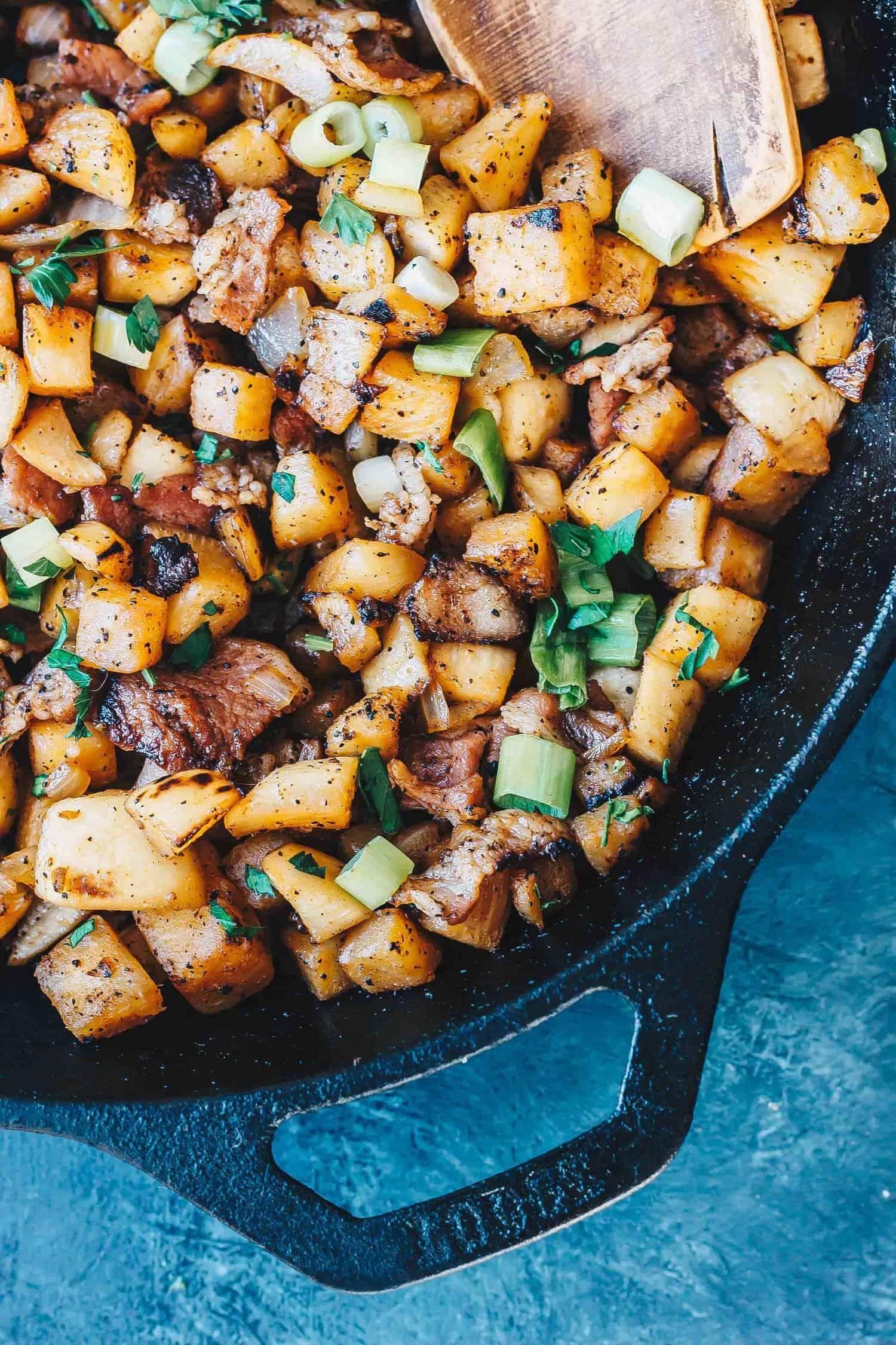 "Keto Breakfast ""Potatoes"" in skillet"
