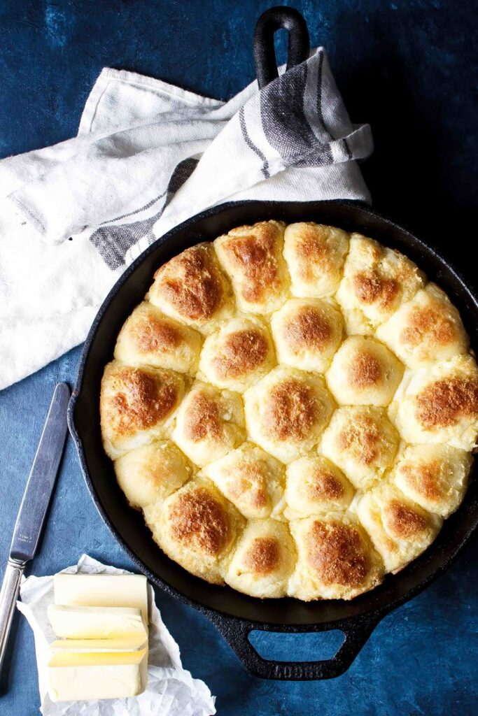 Baked rolls in cast iron skillet