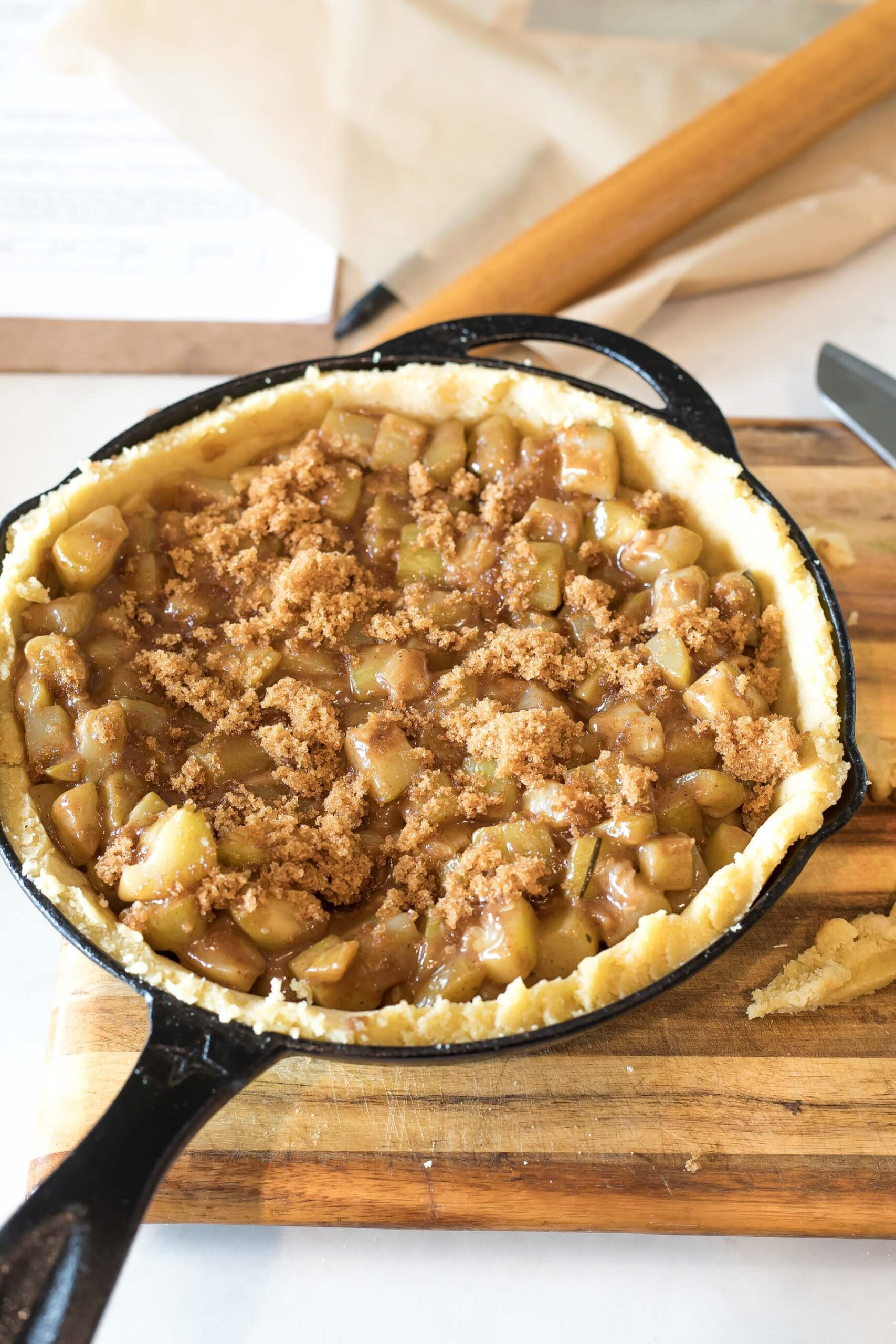 Keto Apple Pie with zucchini filling before baking