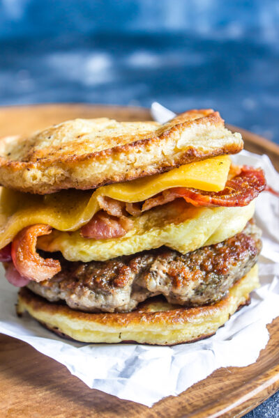 Keto Breakfast Sandwich (AKA Copycat Keto McGriddle) close up