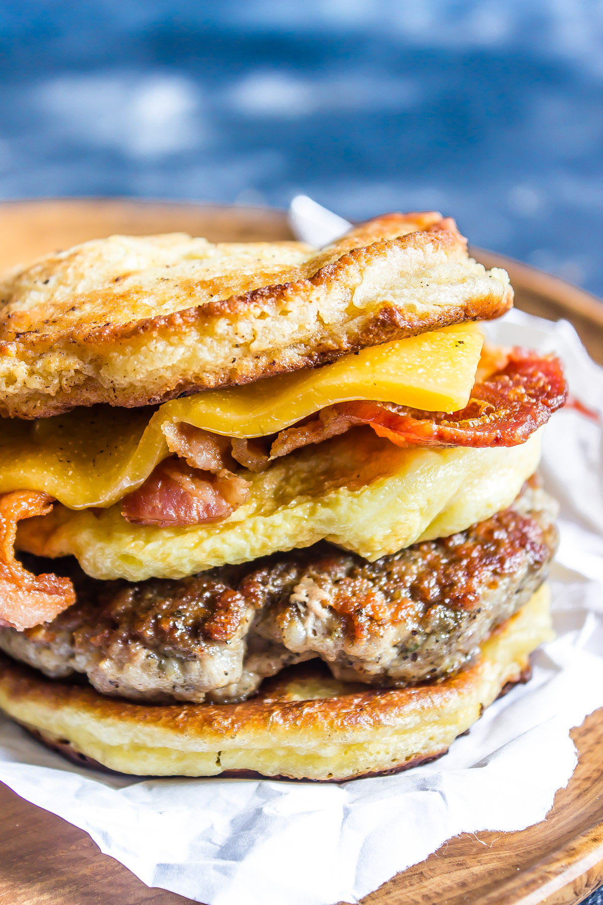 Keto Breakfast Sandwich (AKA Copycat Keto McGriddle) close up