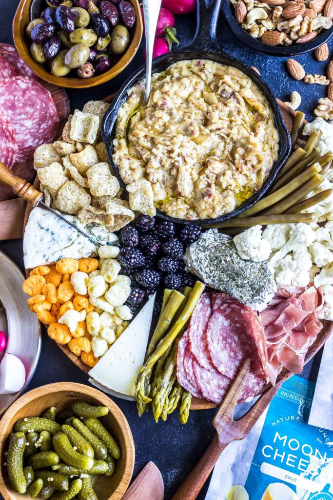 Keto Cheese Board filled with meats and cheese
