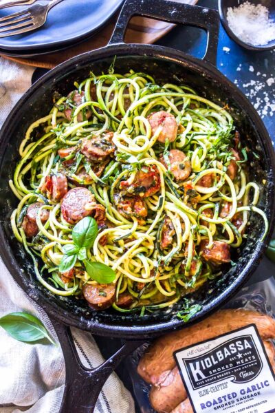 Keto Creamy Tuscan Zucchini Noodles with Sausage finished dish