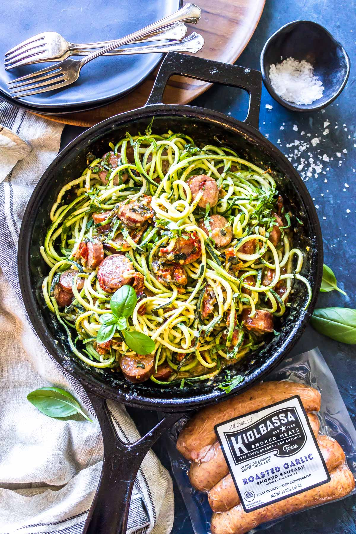 Overhead shot of finished Keto Creamy Tuscan Zucchini Noodles with Sausage