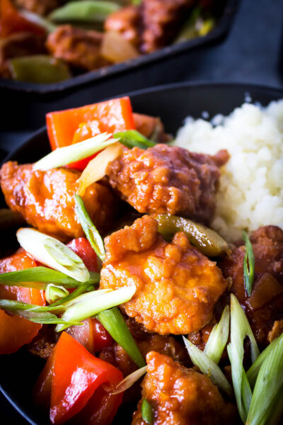 Close-up: Finished Dish Keto Sweet and Sour Chicken
