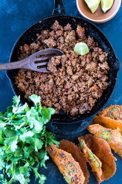 larger dimension version of Easy Keto Taco Meat in a skillet
