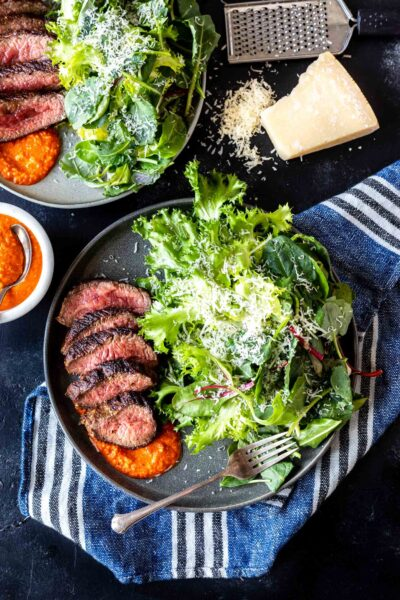 Steak and greens on a plate with romesco sauce