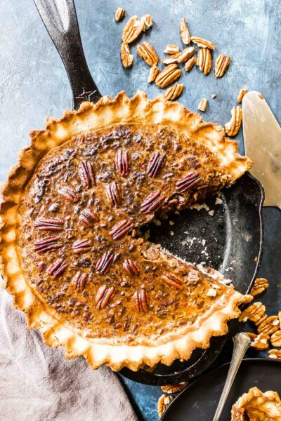 Keto Pecan Pie in a cast iron skillet