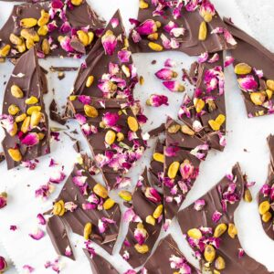 Keto Pistachio Rose Chocolate Bark on table