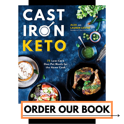 "a square graphic with a photo of the Cast Iron Keto Cookbook that has a text box on the bottom that reads ""Order Our Book"""