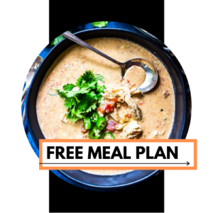 "meal plan graphic - a circle image with a photo of queso soup in the center with a text box that reads ""Free Meal Plan"""