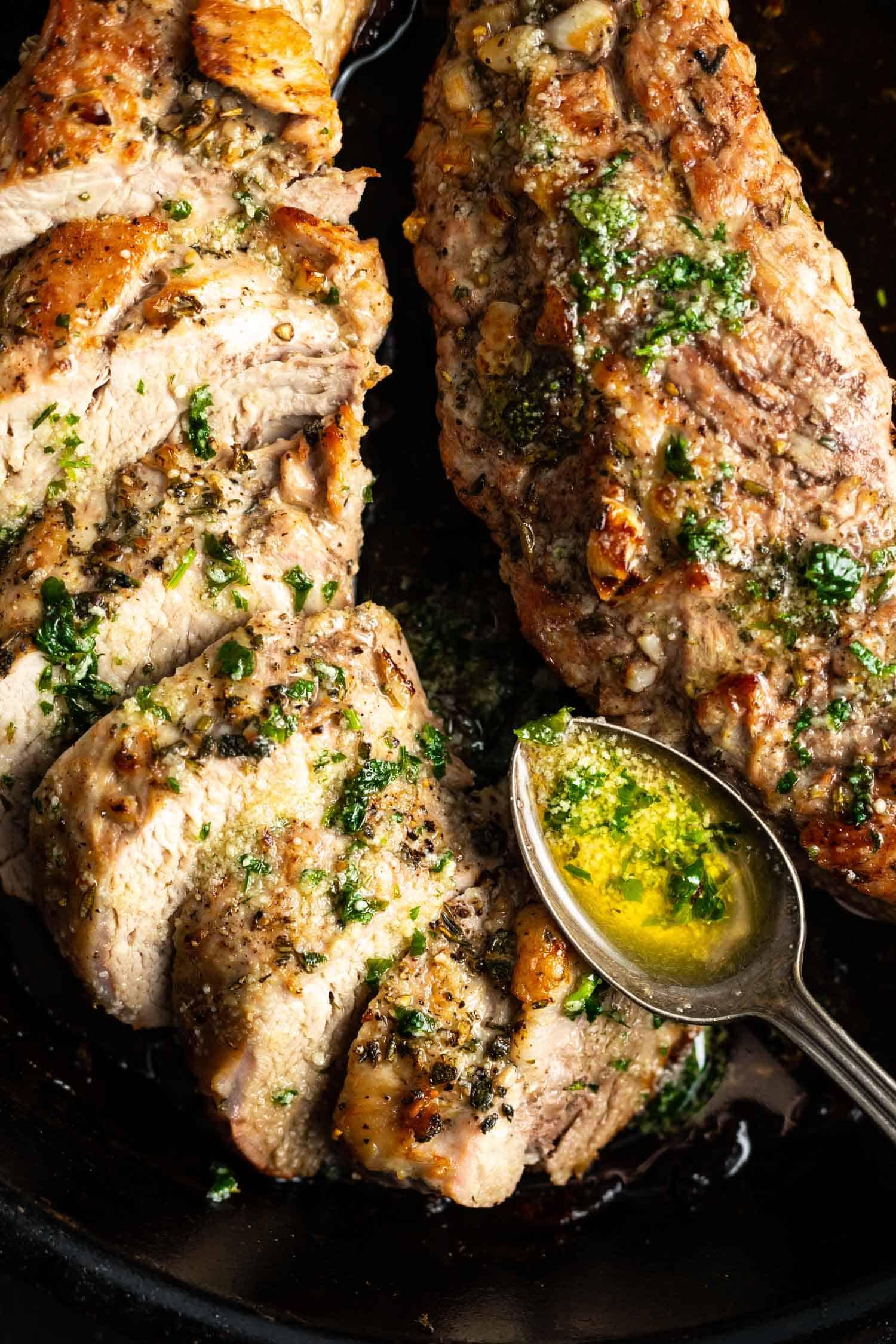 Keto Pork Tenderloin With Garlic Herb Butter Cast Iron Keto