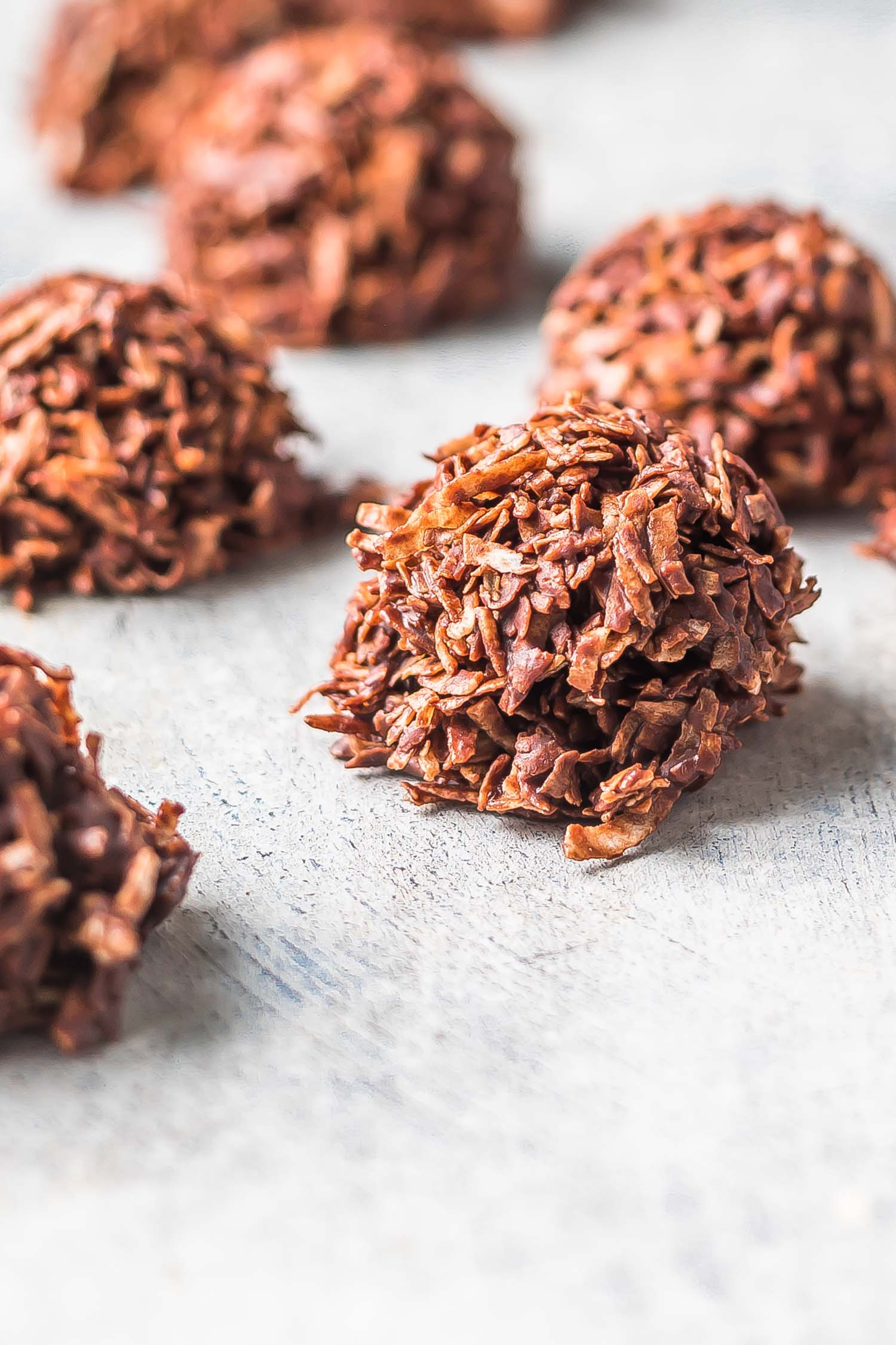 Keto Chocolate Macaroons on a grey background