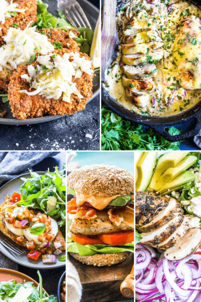 Gallery image with various Keto Chicken Breast Recipes