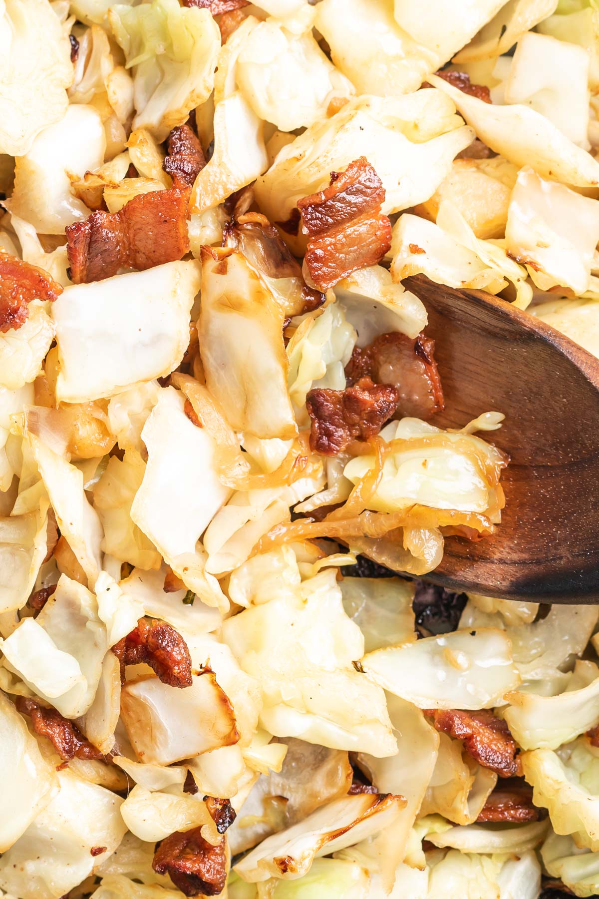 Keto Fried Cabbage in a cast iron skillet