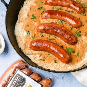 Keto Bangers and Mash in a cast iron skillet