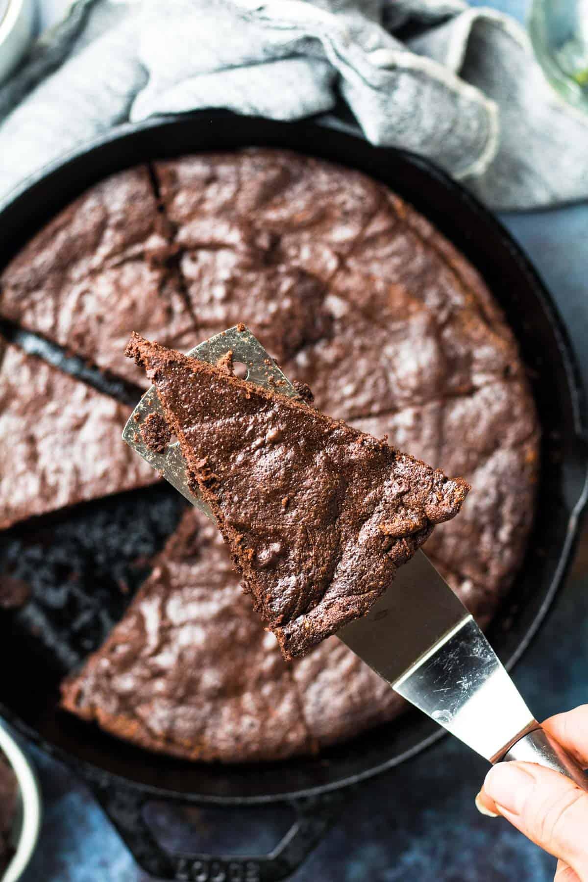 Keto Mocha Chocolate Cake in a cast iron skillet
