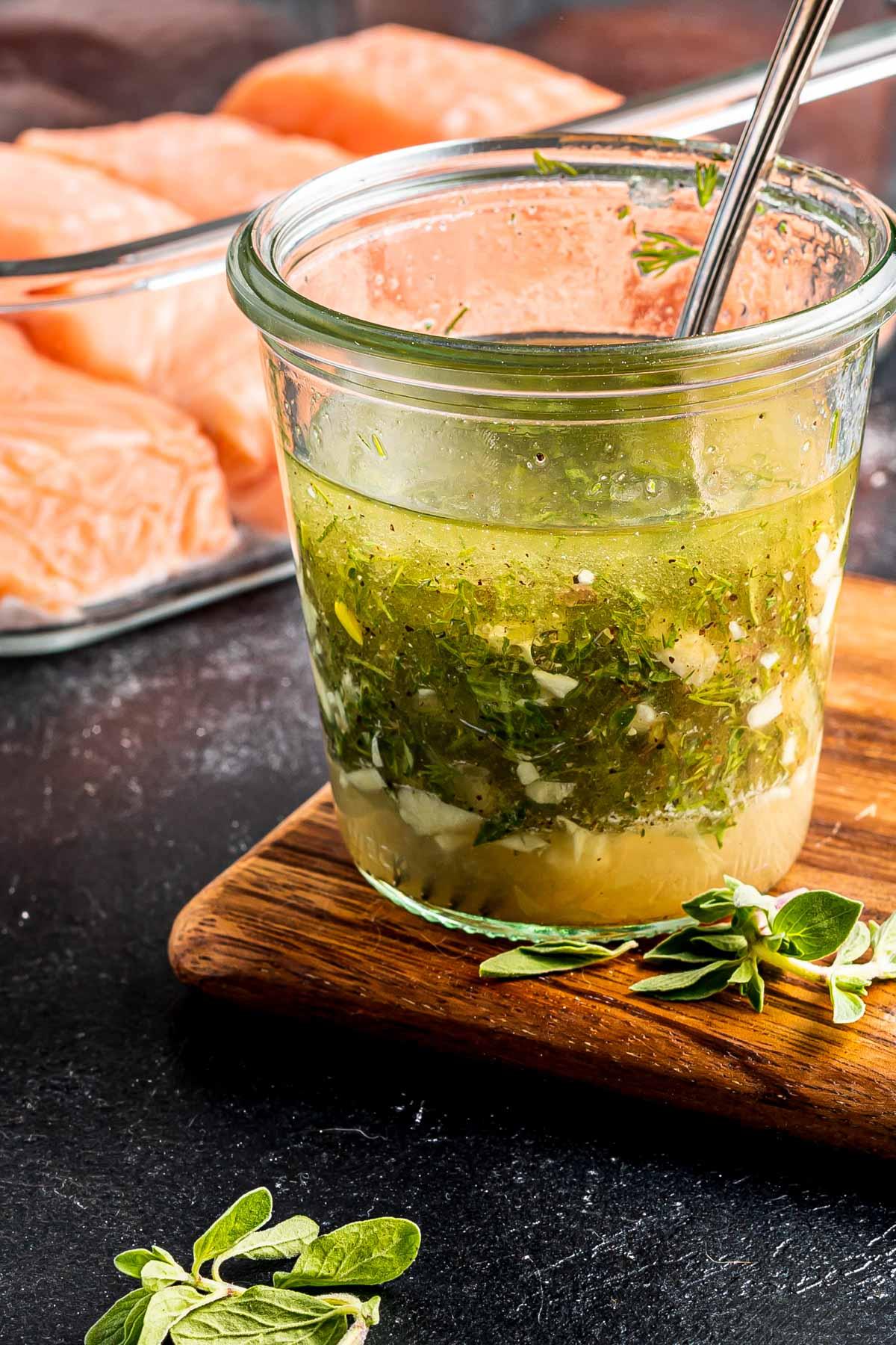 salmon marinade in jar