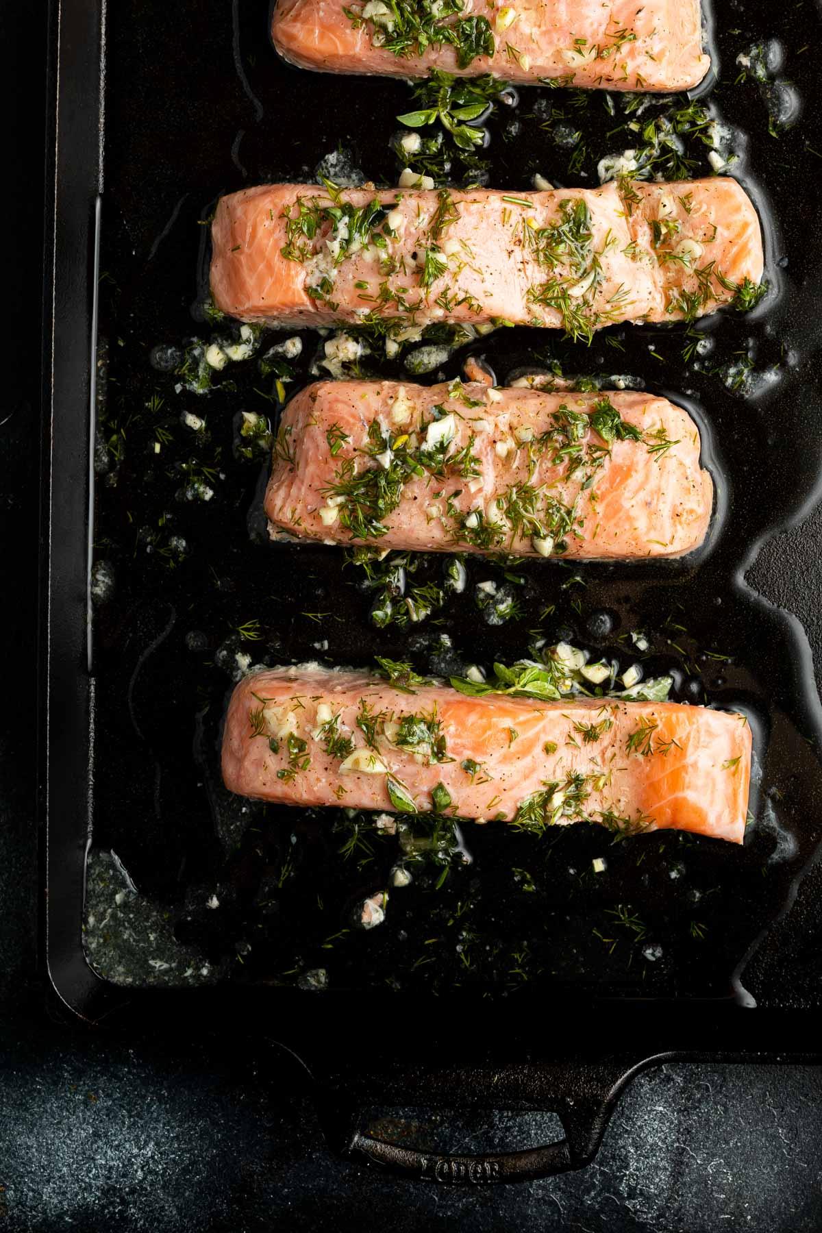 salmon on baking sheet