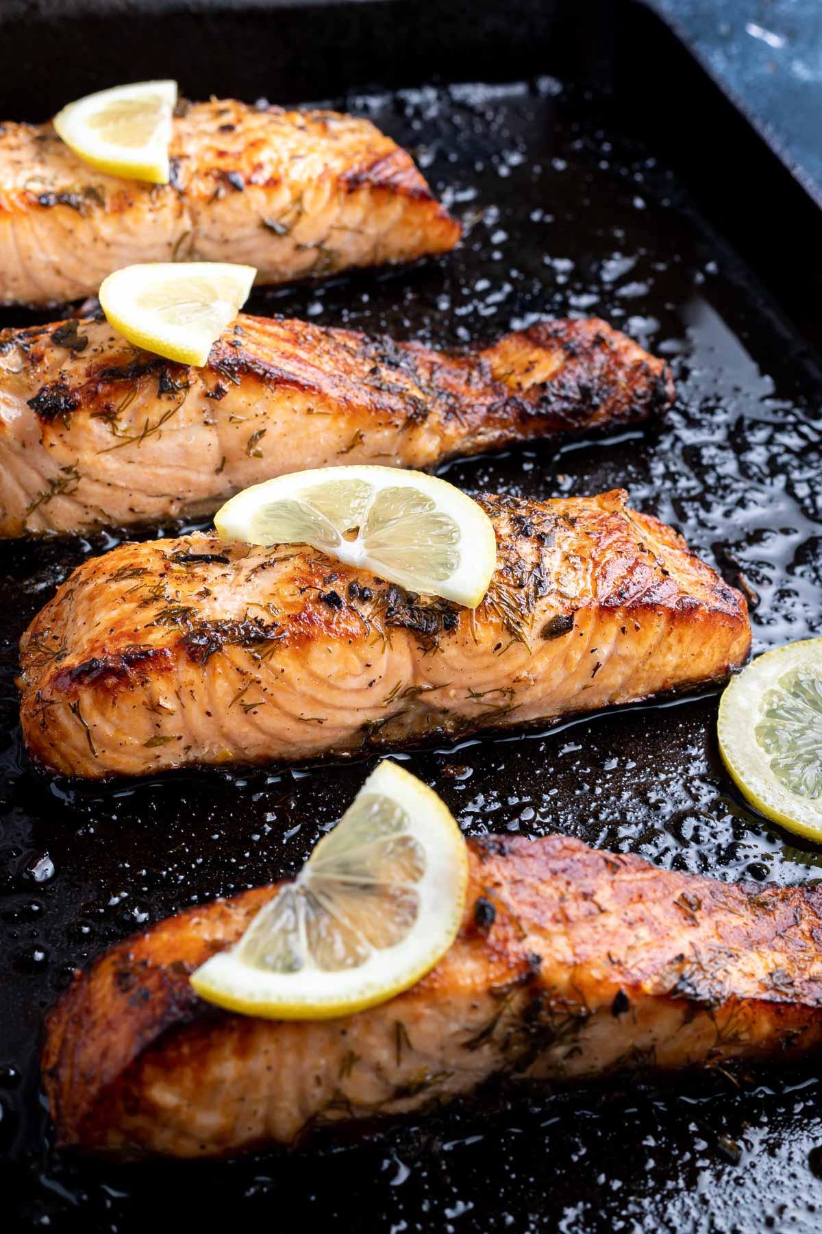 baked salmon on sheet pan