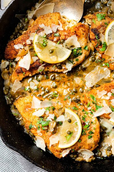 Keto Chicken Piccata in a cast-iron skillet