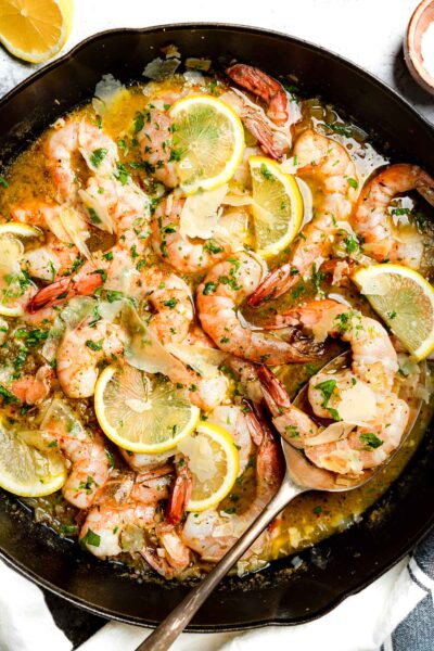 Keto Shrimp Scampi in a cast iron skillet