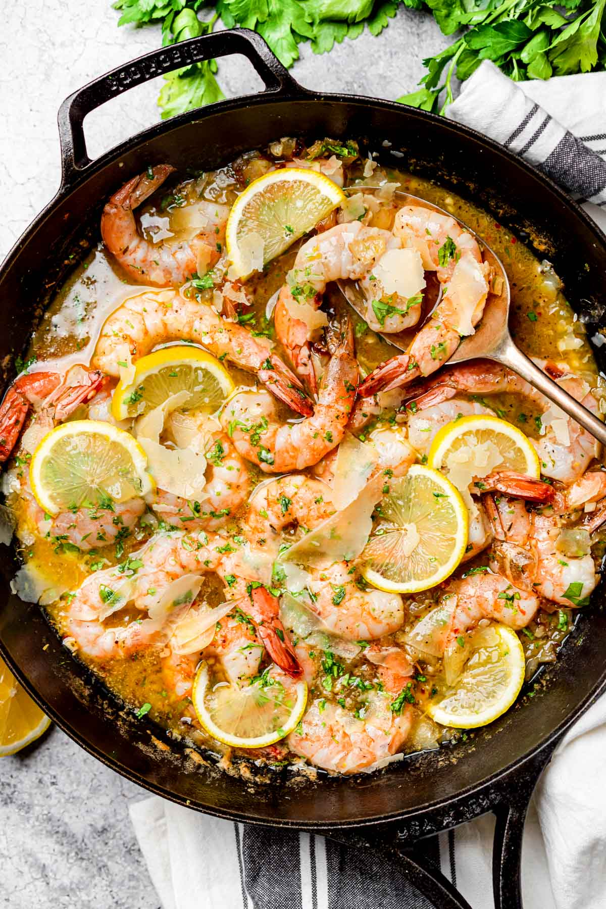 Keto Shrimp Scampi in a cast-iron skillet