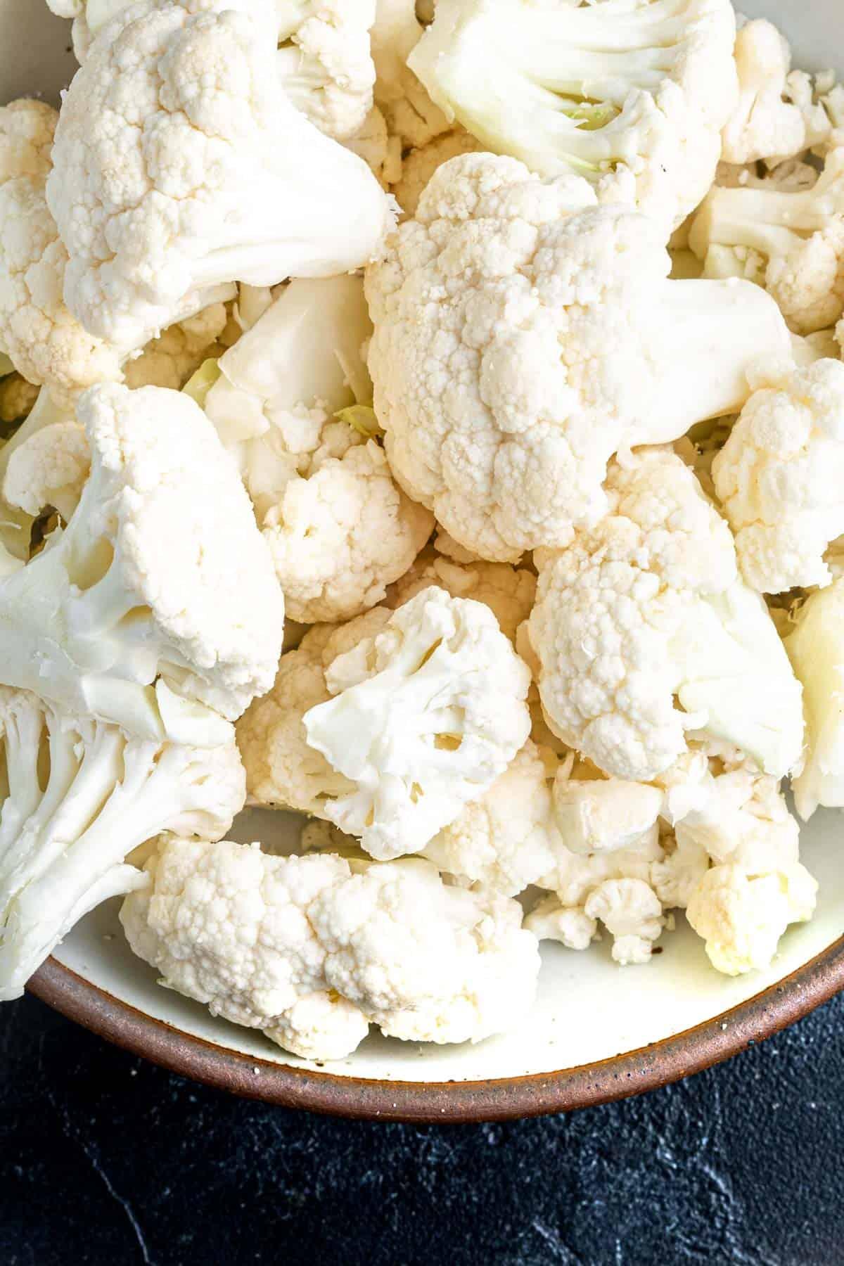 cauliflower florets in bowl