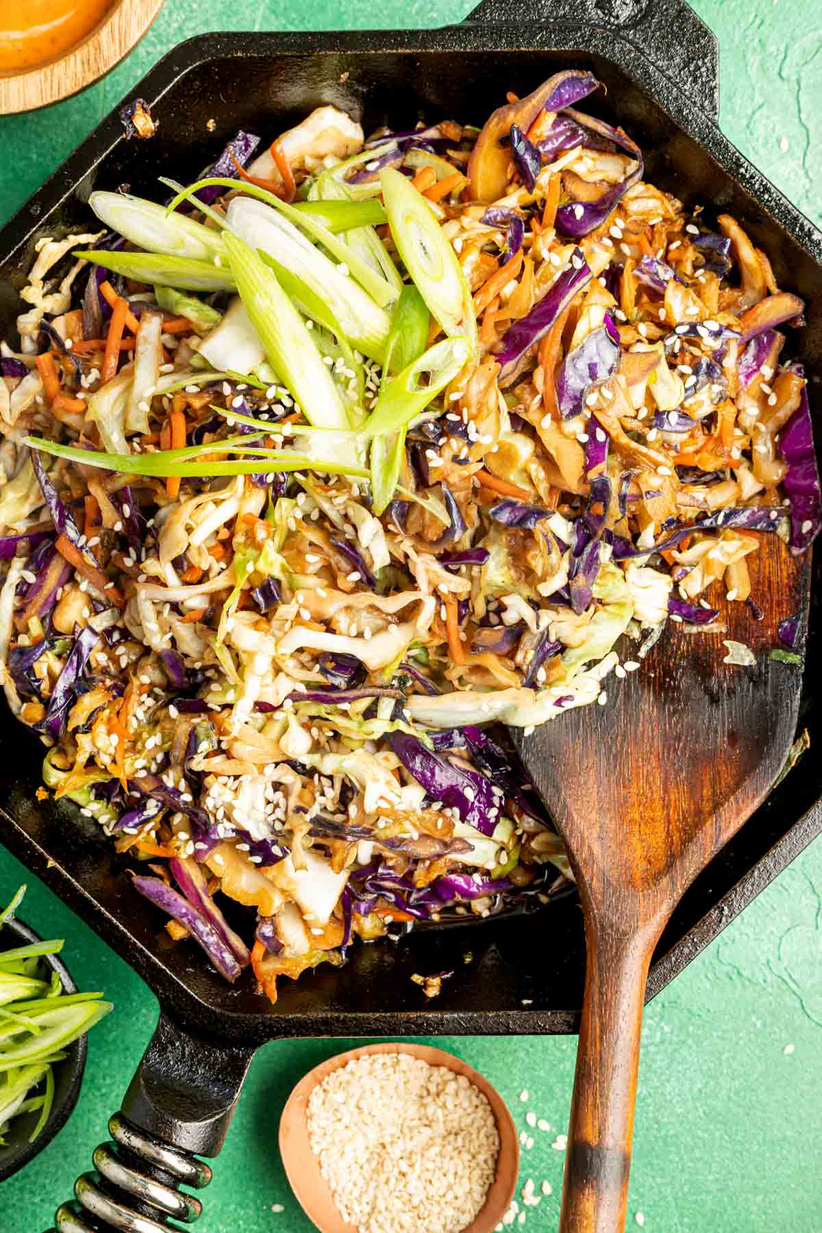 crack slaw in a cast iron skillet