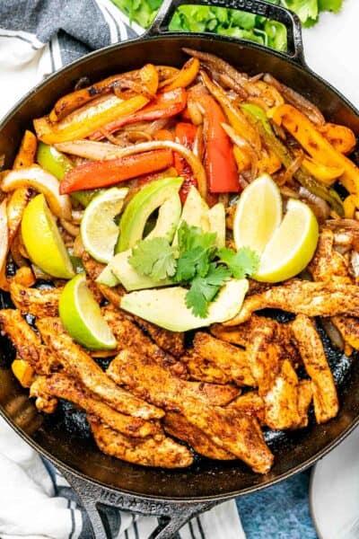 Keto Chicken Fajitas in a cast iron skillet